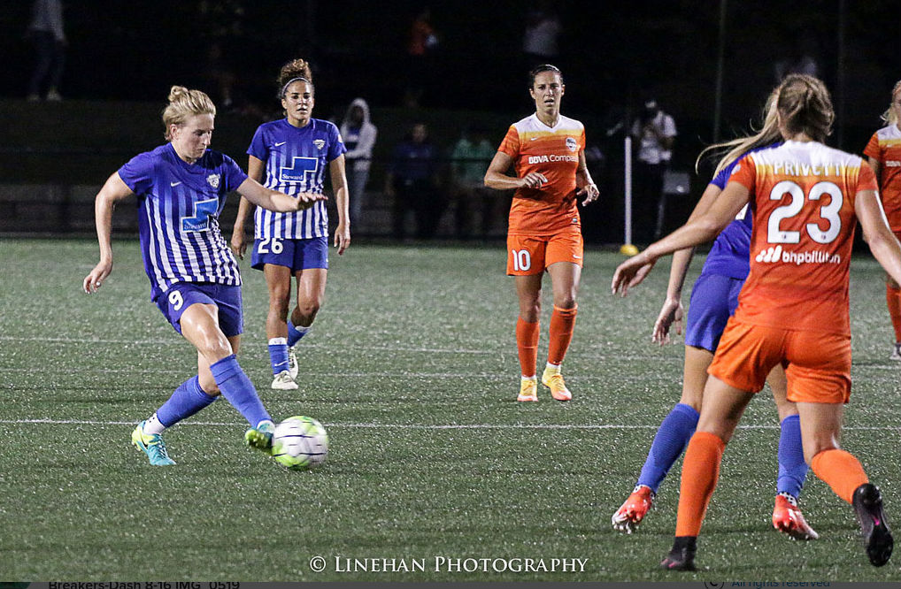 The Houston Dash will have to stop Natasha Dowie, 9, Boston's biggest scoring threat, if they want to win. (photo copyright Linehan Photography for The Equalizer)