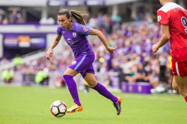 Marta converted a penalty kick to open scoring for the Pride against Boston. (photo by Mark Thor, courtesy of Orlando Pride)