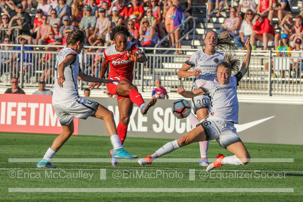 Francesca Ordega fires off the shot that would lift the Washington Spirit over the Portland Thorns. (photo copyright EriMac Photo for The Equalizer)