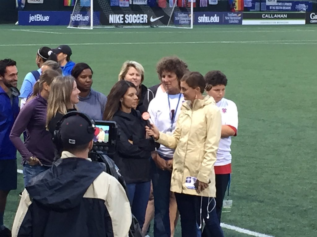Jordan Angeli interviews Mia Hamm at halftime of Breakers 0-0 draw with the Red Stars (photo: Dan Lauletta)