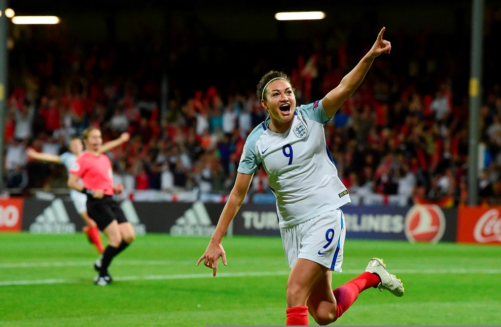 Jodie Taylor celebrates during England's 1-0 win over France. (photo courtesy UEFA)