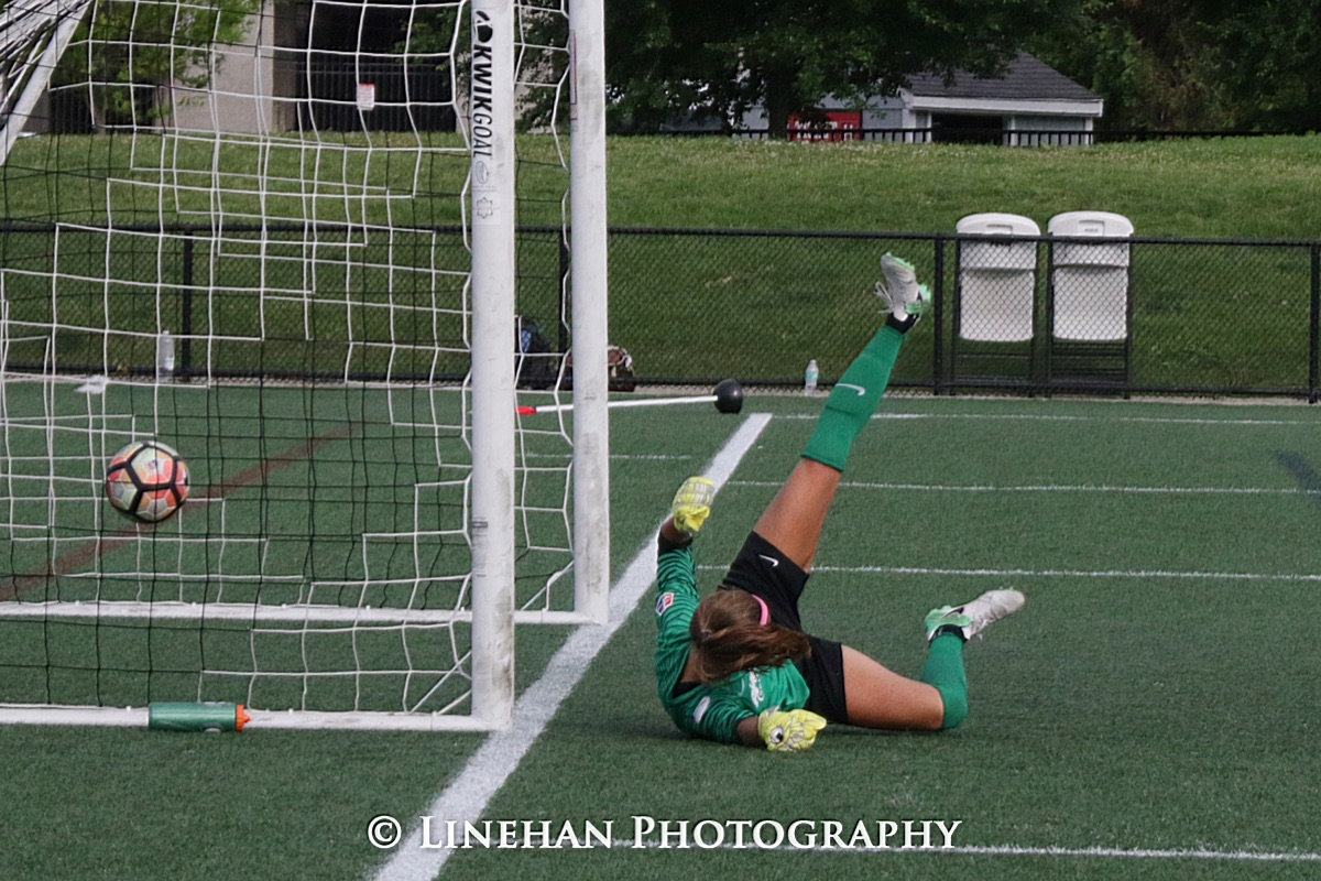 Midge Purce's first NWSL goal in the net behind Spirit keeper Stephanie Labbe (photo copyright Linehan Photography for The Equalizer)