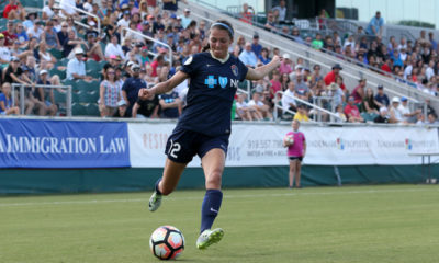 Saturday June 03, 2017: Ashley Hatch during a regular season National Women's Soccer League (NWSL) match between the North Carolina Courage and the FC Kansas City at Sahlen's Stadium at WakeMed Soccer Park. The Courage won the game 2-0.