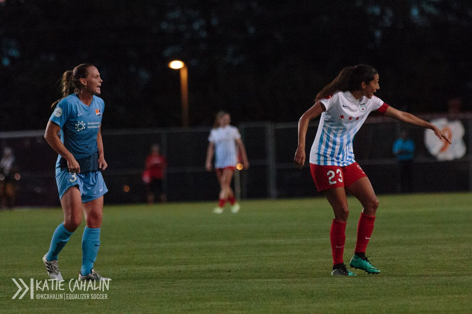 World Cup championsh teammates Christie Pearce (left) and Christen Press during NWSL action on Saturday (photo copyright Katie Cahalin for The Equalizer)