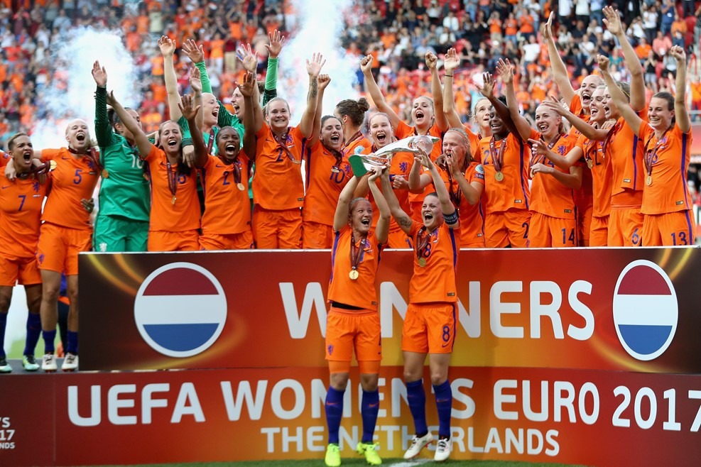 The Netherlands lift their first ever European Championship trophy. (photo courtesy UEFA)