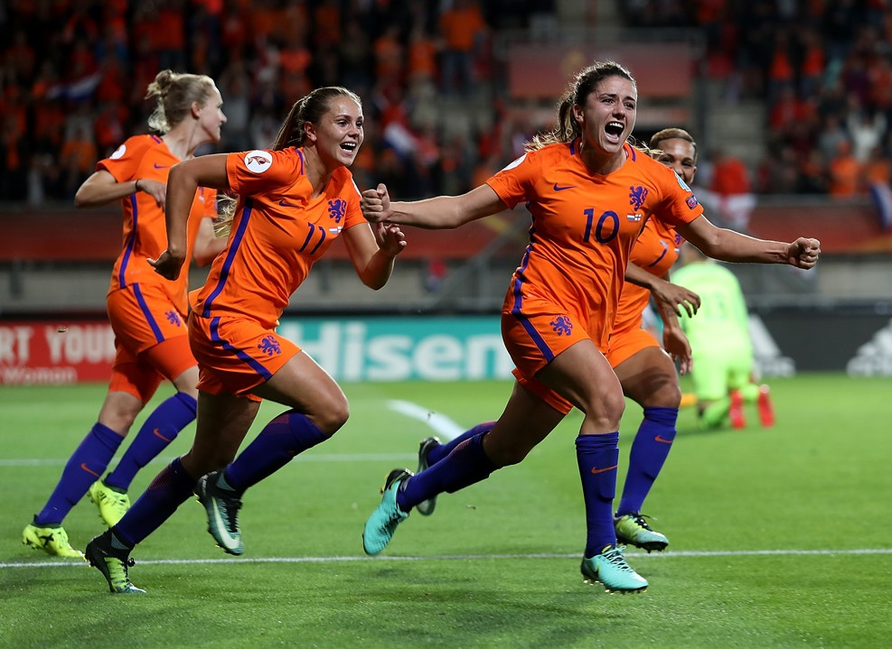 Danielle van de Donk celebrates after her goal in the Netherlands semifinal win over England. (photo courtesy UEFA)
