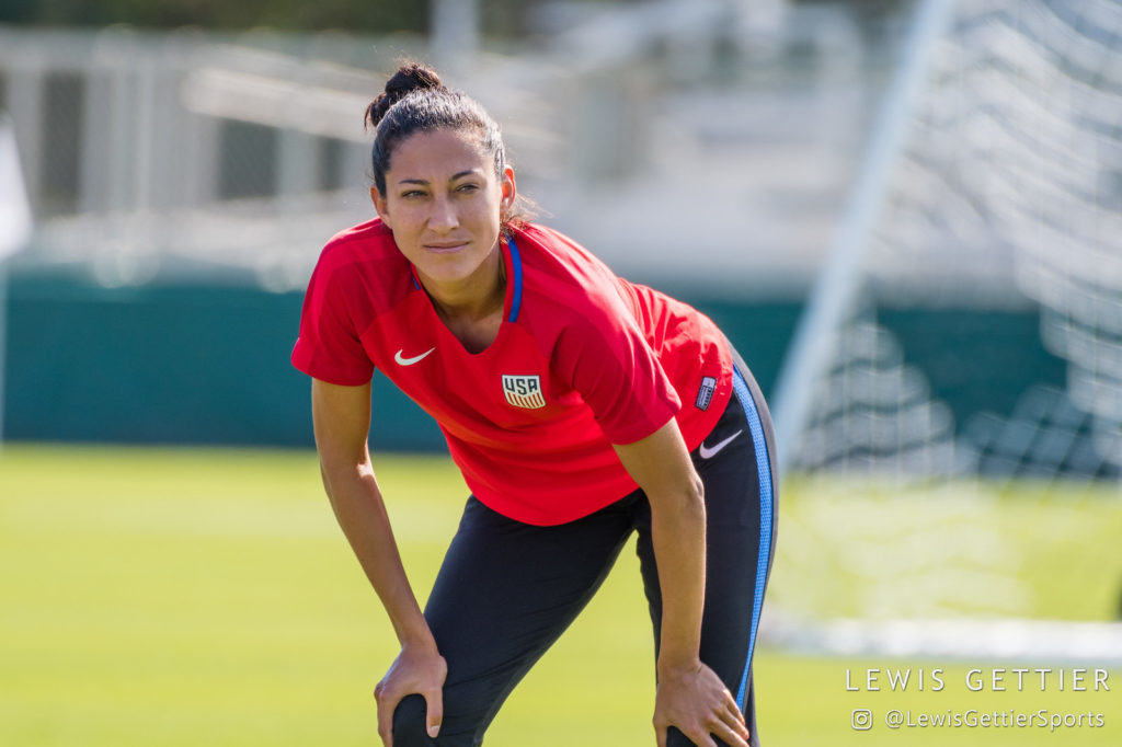 e8cbc83cf67 Christen Press was booed mercilessly on Sunday but had the last laugh  scoring the equalizer in a come-from-behind win (Photo Copyright Lewis  Gettier)