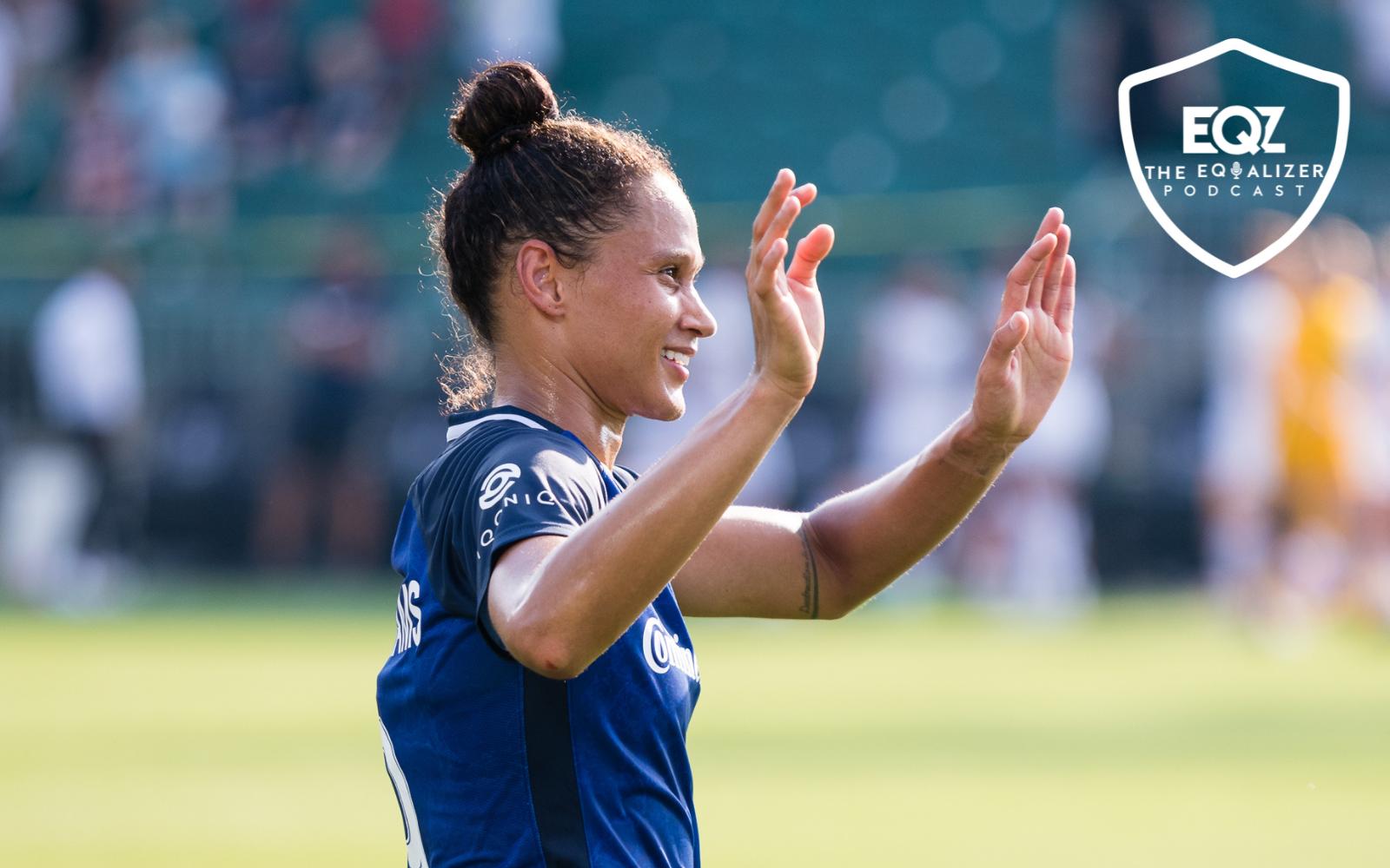 North Carolina Courage forward Lynn Williams celebrates after scoring a goal.