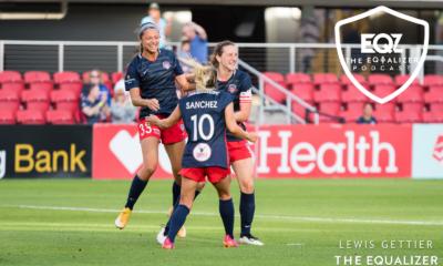 Washington Spirit players celebrate a goal