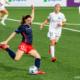 Washington Spirit midfielder Andi Sullivan kicks the ball