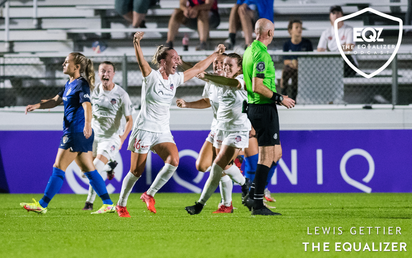 Washington Spirit players raise their arms in celebration after scoring a goal in North Carolina