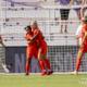 Houston Dash players Rachel Daly and Jasmyne Spencer hug after scoring a goal